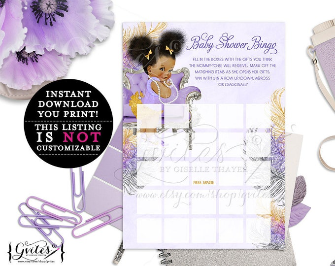 African American bingo cards, lavender purple gold and silver, ethnic baby bingo card, diamonds pearls, instant download, 5x7 2-Per Sheet