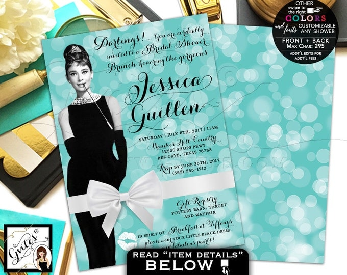 Breakfast at Tiffany's Bridal Shower Brunch Invitation, Audrey Hepburn shower invitations, customizable colors, PRINTABLE 5x7, double sided