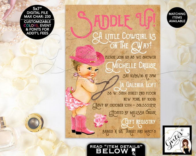 Cowgirl invitation baby shower invitation, saddle up booths with hat baby invitations, pink beige, vintage, farm printables. DIGITAL 5x7