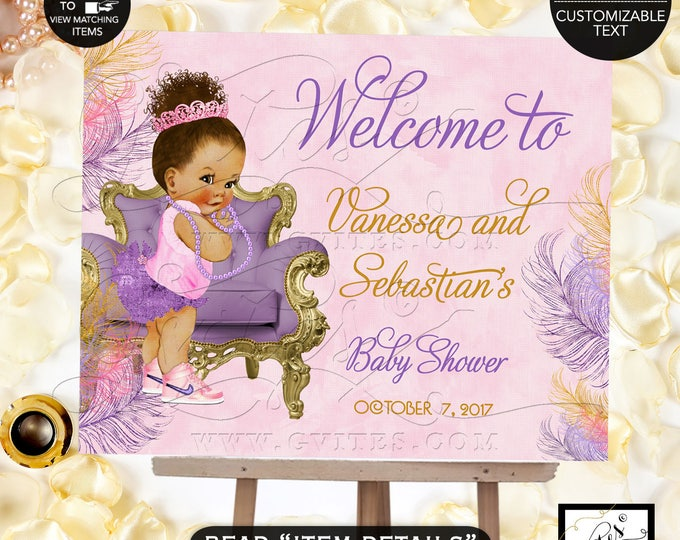 Pink and Purple Gold Welcome Signs Baby Shower, Afro bun puffs, ethnic princess printable poster sign. DIY, Digital File, Printable, Gvites.
