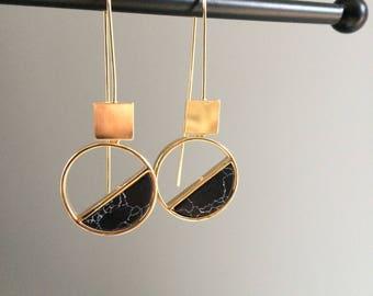 Gold Ear Hooks Black Marble Geometric Earrings Square Circle Earrings