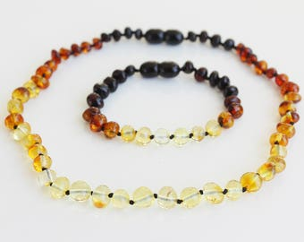 Baltic amber baby teething necklace and bracelet/anklet set. Baby shower gift. Rainbow