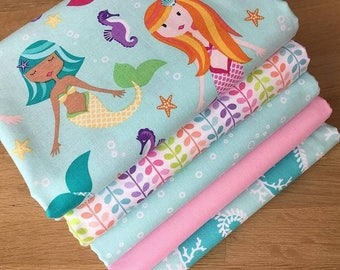 MER-MATES Fat Quarter Bundle D Michael Miller Quilting Fabric Blue Mermaid Sea