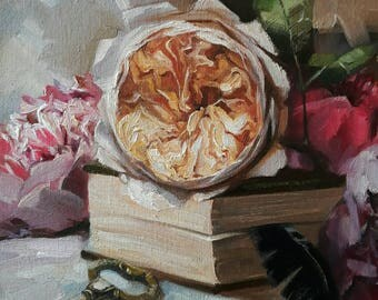 Valentine's day gift, Rose Oil Paintings on canvas, Roses Painting, Floral painting, Love gifts For her, Flowers Still life, Painting 8x8