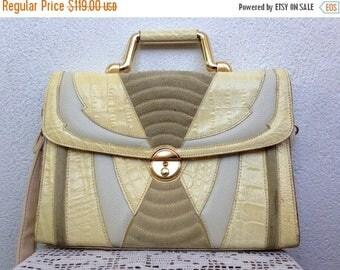 SALE 20% OFF Cream Beige Satchel Purse, Genuine Leather Ladies Briefcase, Structured Handbag, 80s Crossbody Bag, Off White Shoulder Bag, Geo