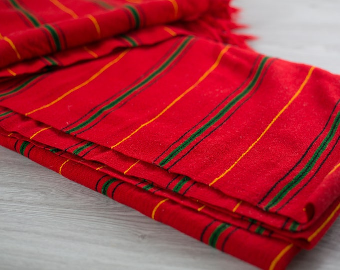 Mexican Stripe Blanket / Large Vintage Red Pinstripe Rainbow Colorful Throw / Southwestern Frayed Edge Woven Blanket