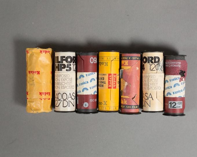 Vintage 120 Film - 7 Rolls of Vintage Professional Expired Film - Ilford, Kodak, and Konica.