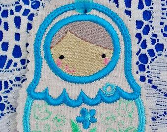 Christmas~Holiday~Gift~Decor~Ornament Traditional Russian Style Mamushka~Babushka Doll in Turquoise & Green Machine Embroidered