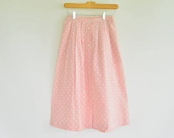High Waisted Long Skirt Midi Size Small Pink with White Polka Dots Pleated Has Pockets and Elastic Partial Waist Alfred Dunner 80's Era
