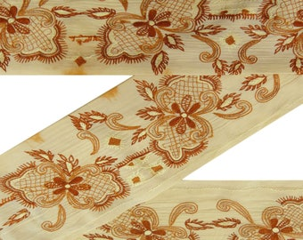 Free Shipping Home Decor Indian Vintage Embroidered Sari Border Beige Ribbon Sewing 1YD Lace VB14726