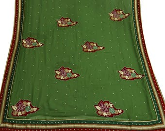 Free Shipping Indian Vintage Georgette Green Craft Antique Saree Hand Beaded Sarong Decor Sari GR6686