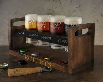 Personalized Craft Beer Flight Sampler with Chalkboard Panel & Soapstone Pencil with Flight Caddy and Glassware Engraving Options (Each)