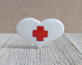 Nurse - Red Cross Medical Heart - Doctor - Help - Hero - Lapel Pin