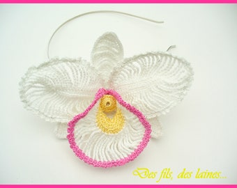 White Crochet Orchid Flower headband/crochet hair accessory for wedding, ceremonies/ornamental crochet flower/crochet orchid/hat flower