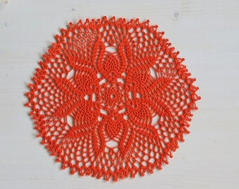 Orange doily, 27 cm