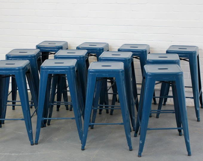 Blue Stacking Stools By Xavier Pauchard For Tolix Circa 1960s