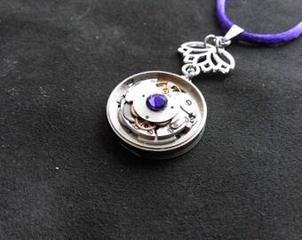 Vintage watch movement pendant and Swarovski
