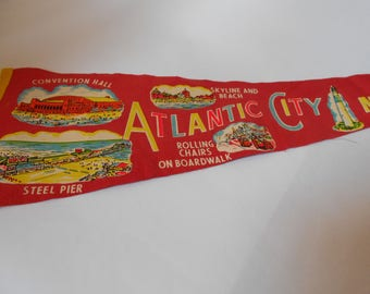 Large Vintage Felt Pennant Flag- Atlantic City NJ - New Jersey Steel Pier Rolling Chairs Salmon Color