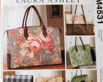McCall's 4531 Laura Ashley designed lined bags pattern Uncut