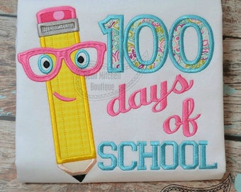 100 Days of School Pencil with Glasses Applique Shirt or Onesie Boy or Girl