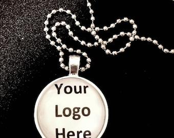 Custom Logo Bezel Necklace/ quantity of 5-9/ 10% discount/Business Advertising Jewlery/Company logo