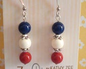 Patriotic earrings, Swarovski peals, red, white and blue, hypo allergenic ear wires