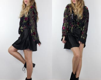 Burn Out Velvet Sheer with Roses Button Up Shirt 90s Vintage Top Burnout Long Sleeve See Through Blouse Flower Floral
