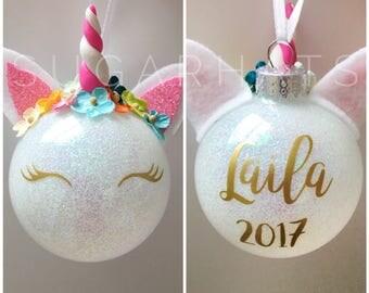 Unicorn Christmas Ornament, Personalized Christmas Ornament, Unicorn Ornament, Christmas Gift, CYBER MONDAY, Glitter Unicorn