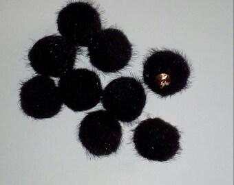 X 1 Pendendif ball 20mm black fur