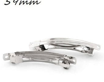 X 2 large hair clips with decorate silver 59mm