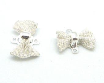 X 4 Mini bows mesh connector silver 15mm