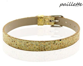 Bracelet faux leather Croc sequin gold 22 cm
