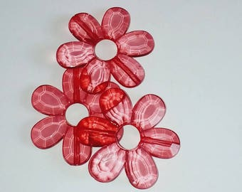 Translucent red flower 33mm X 1 big Pearl