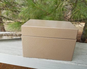 Buddy Products Light Brown Textured Tin Recipe/File Box Retro Kitchen Decor