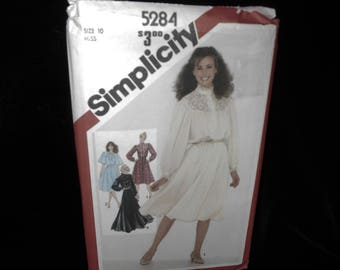 Womens Dress Simplicity 5284 Misses Pullover Dress 2 Lengths Size 10 Sewing Pattern Lace trim Flared