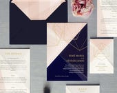Prism - Luxury Wedding Invitation - Silver, Gold or Rose Gold foil. Featuring sparkling pearl card or real metallic foil. Diamonds geometric