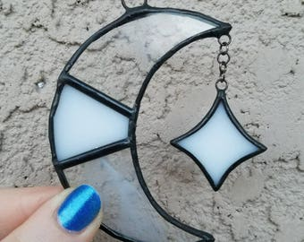 Crescent Moon and Hanging Star Stained Glass Suncatcher