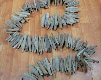 "Driftwood Nautical Garland Strand Wood Ring 6 Foot Long Light Parts 4-5"" Sticks"