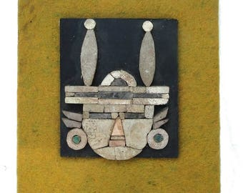 Mayan Art Stone Fabric and Ceramic Vintage Old Wall Decor Rare Piece South American