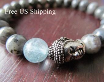 Aquamarine, Buddha and Blue Labradorite Bracelet, Buddha Bracelet, Yoga Bracelet, Yoga Jewelry, Meditation Bracelet, Energy Bracelet, Mala