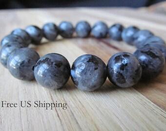 10mm Larvikite Bracelet, Mens Bracelet, 10mm  Bracelet, Mens Jewelry, Gift for Men, Yoga Jewelry, Stacking Bracelet, Black Moonstone