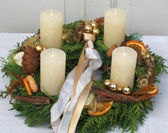 Advent Wreath Christmas wreath freshly tied with 4 cream candles 35 cm