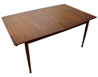 "Mid-Century Modern Dining Table Danish Modern Walnut 96"" Extendable Surfboard Dining Table #8"