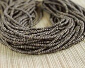 2-3mm Dark Gray Grey Coconut Shell Pucalet Rondelle Beads Dyed and Waxed 15 inch strand