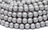 8mm Metallic Silver Painted Round Wood Beads 15 inch strand