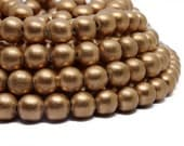 10mm Metallic Copper Painted Round Wood Beads 15 inch strand