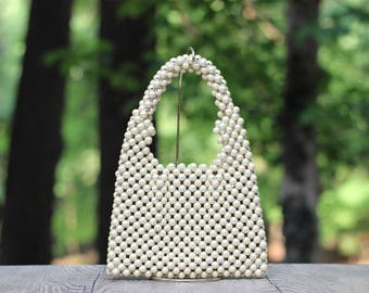Exquisite Vintage Beaded Pearl Handbag Mint Condition / Oversized Pearl Handbag / All Pearl Handbag / Faux Pearl Handbag / Wedding Bag