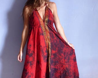 Long red summer dress checkered, ethnic, tye die, Halter, beach, festival