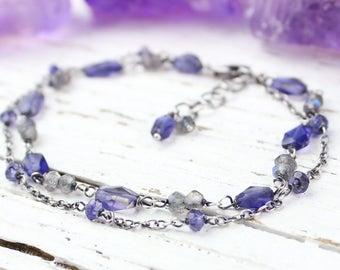 Labradorite Bracelet, Iolite Bracelet, Gemstone Chain Bracelet, Blue Grey Multi Strand Bracelet, Oxidized Sterling Silver
