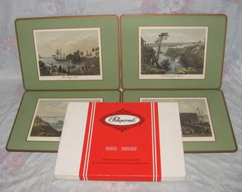 Vintage Pimpernel Placemats - Bartlett Ontario - Set of 4 Four - Toronto 1841, Rideau Canal/Bytown, Kingston, Fish Market - Original Box